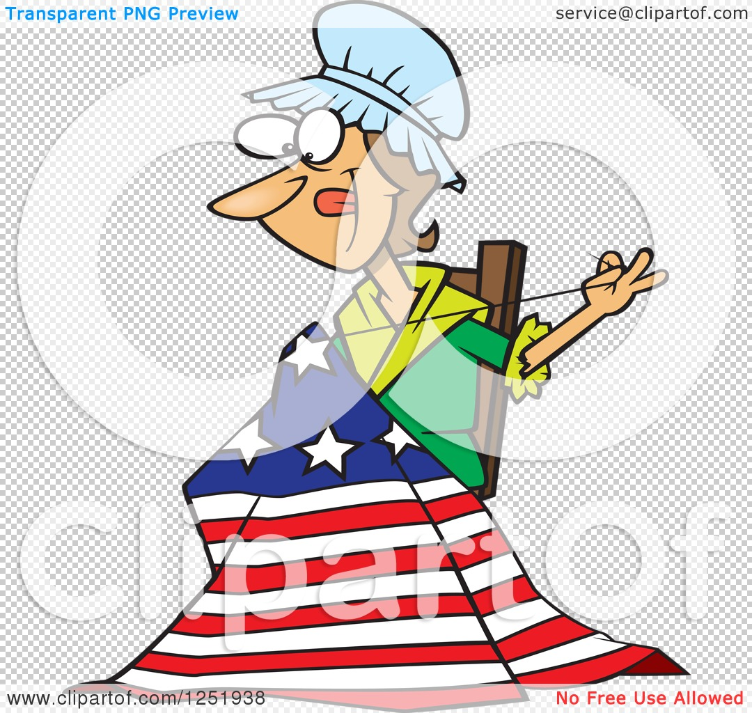 Clipart of a Cartoon Betsy Ross Sewing the First American Flag.