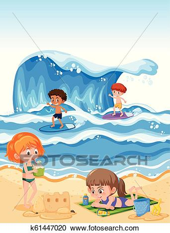 Summer holiday at the beach Clipart.
