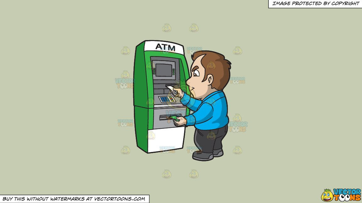 Clipart: A Man Getting Money And Receipt From The Atm on a Solid Pale  Silver C6Ccb2 Background.