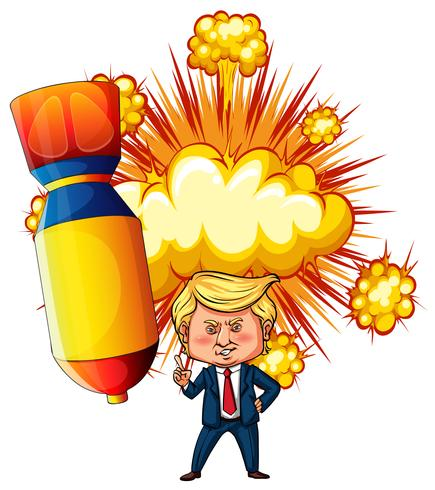 US president Trump with atomic bomb in background.