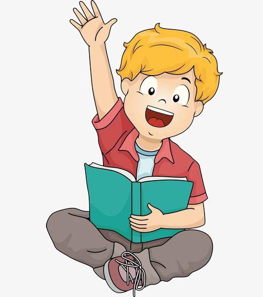 الولد الذي يرفع يديه أثناء قراءة.