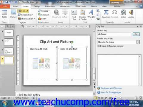 PowerPoint 2010 Tutorial Inserting Clip Art and Pictures Microsoft Training  Lesson 5.1.