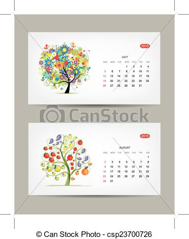 Vector Illustration of Calendar 2015, july and august months. Art.