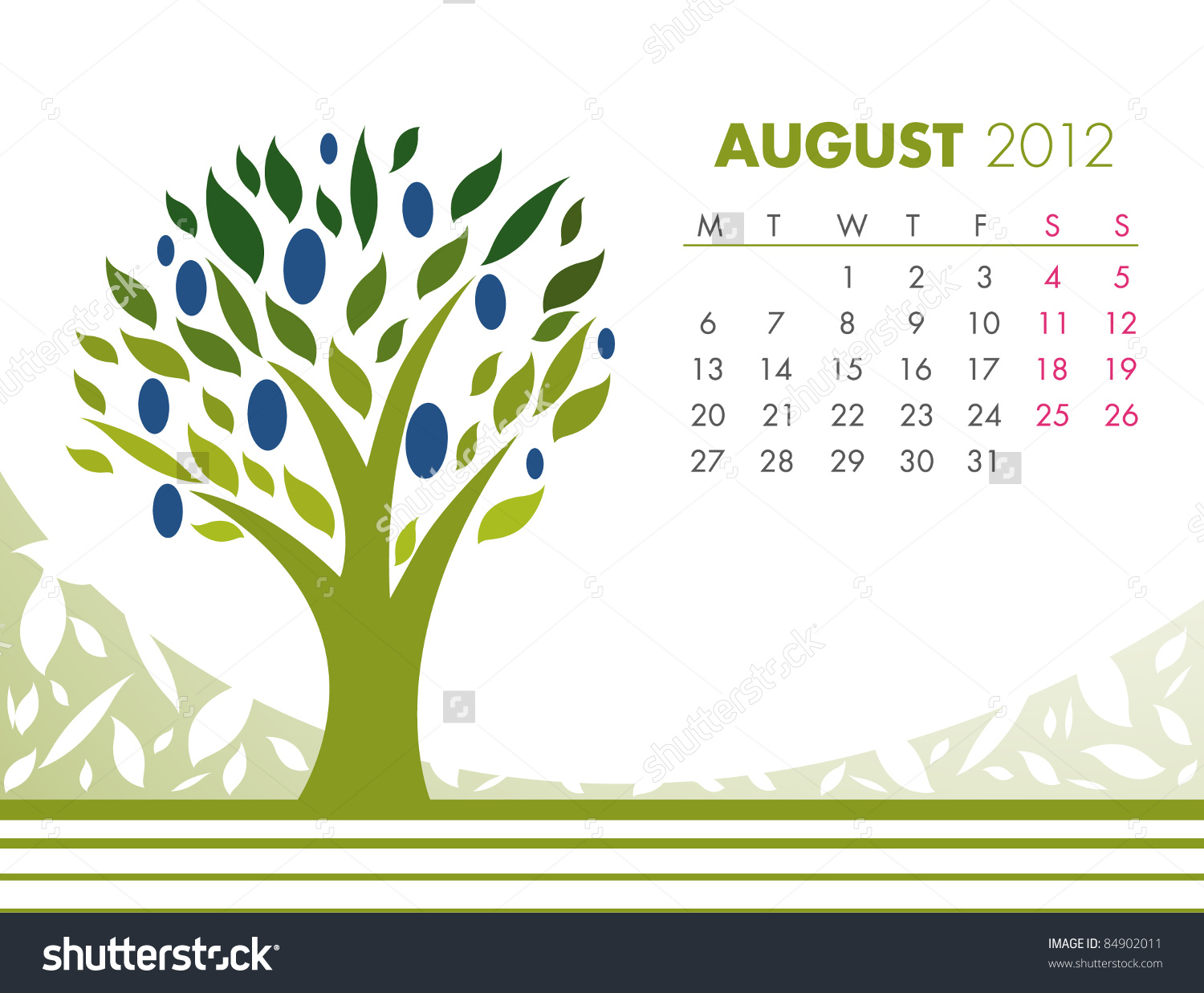August Tree Calendar 2012 Vector Stock Vector 84902011.