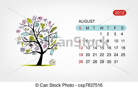 Clip Art Vector of Vector calendar 2012, august. Art tree design.