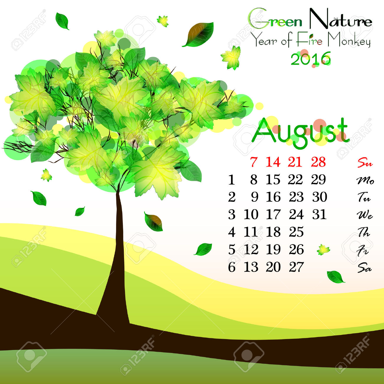Abstract Nature Background With Green Tree And Dates Of August.