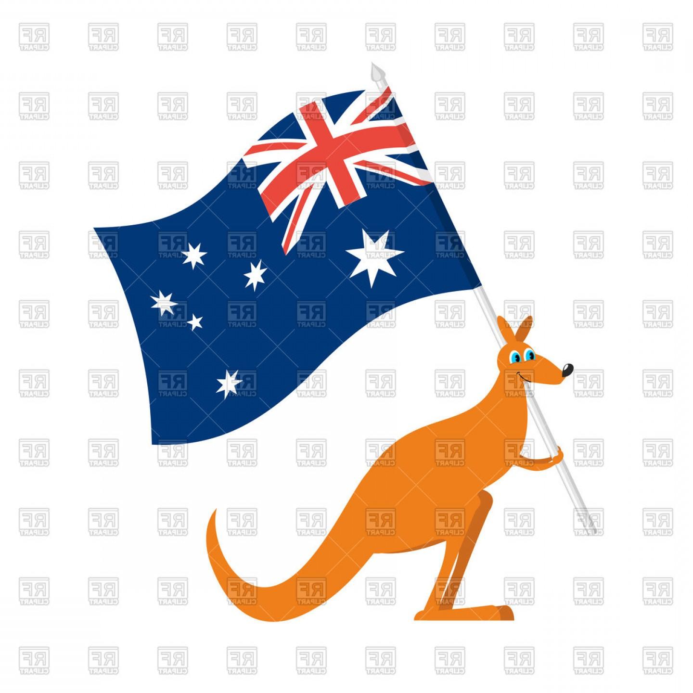 Australia Day Emblem Kangaroos And Australian Flag Vector.