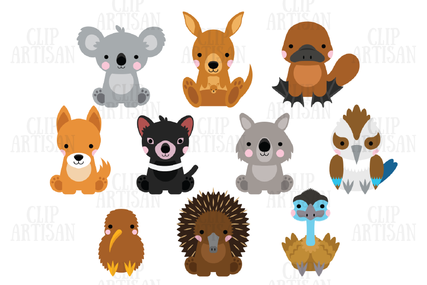 Australian Animals Clipart, Kiwi Animals,.