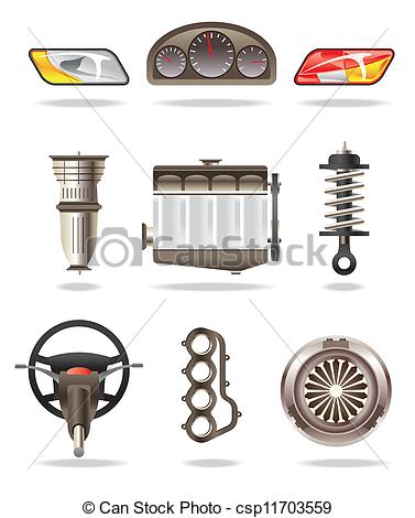 Clipart Vector of Car parts and accessories.