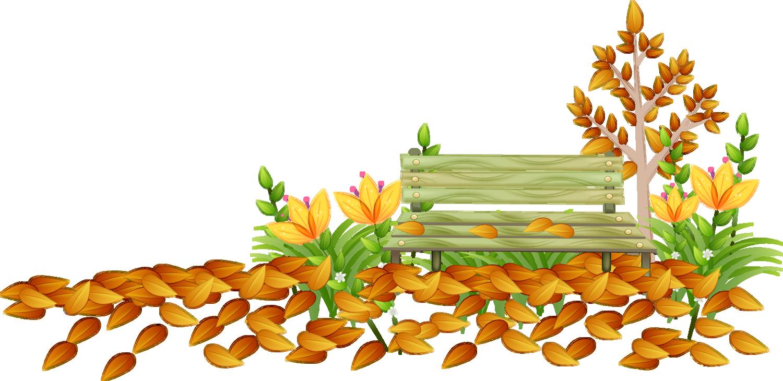 Paysage d\'automne png, banc.