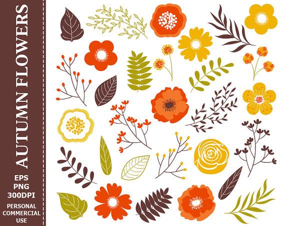 70% OFF SALE Digital Autumn Flowers Clip Art.