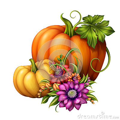 Autumn Colorful Flowers In Pumpkin. Stock Image.