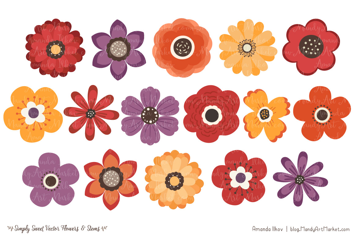 Simply Sweet Vector Flowers & Stems Clipart in Autumn by Amanda.