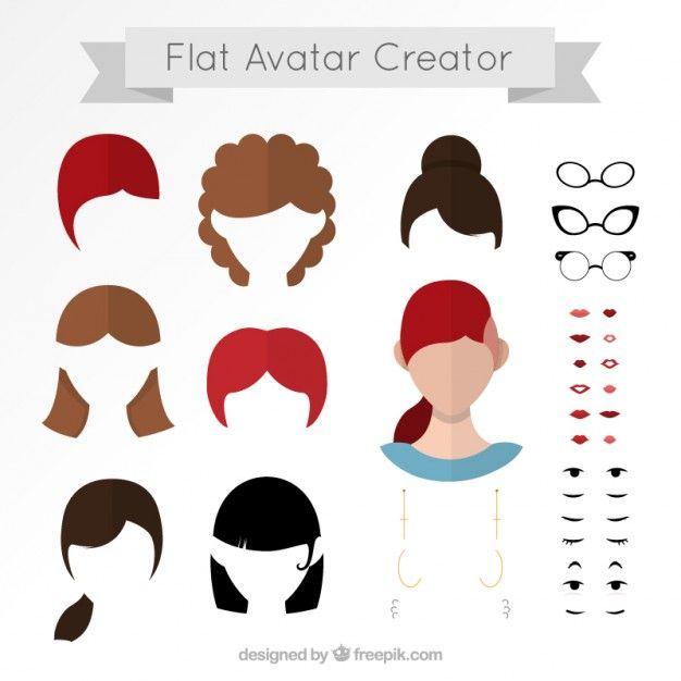 Flat avatar creator Free Vector in 2019.