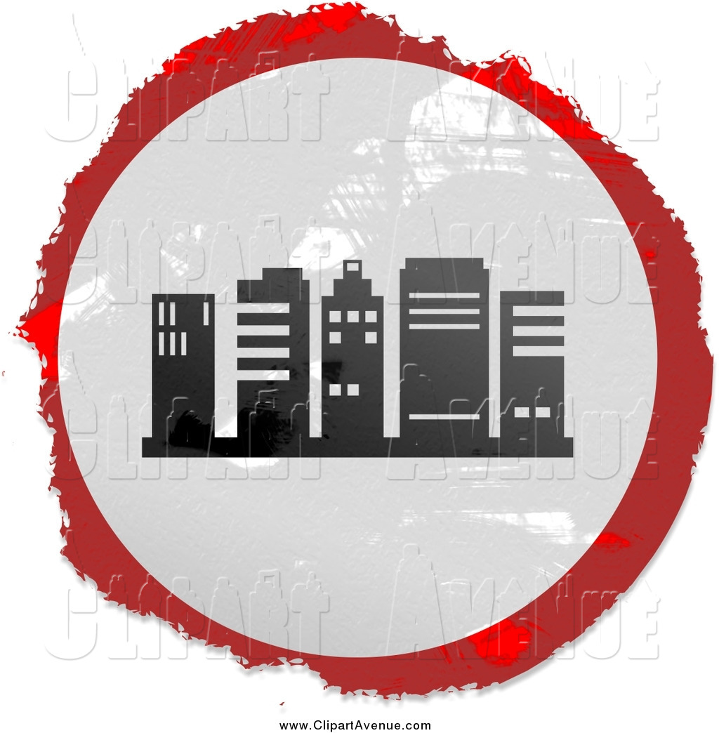 Avenue Clipart of a Round Grungy Red, White and Black City.