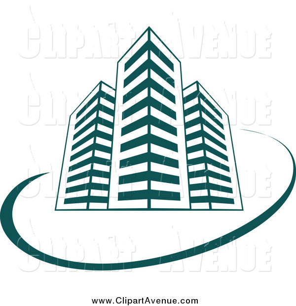 Avenue Clipart of Teal Skyscraper Buildings and a Swoosh by.