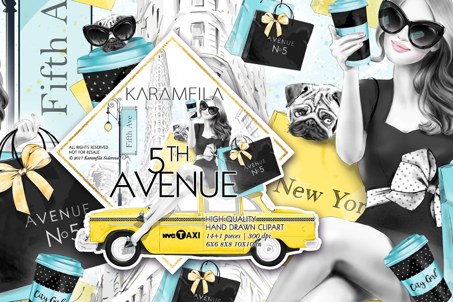 5th Avenue New York City Clipart ~ Illustrations ~ Creative.