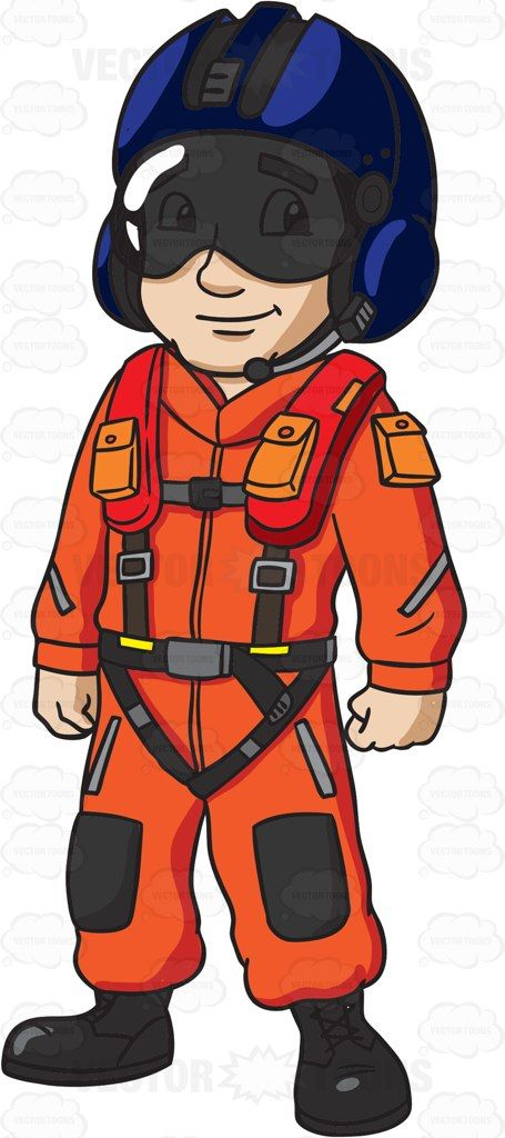 A US Coast Guard Helicopter Pilot #cartoon #clipart #vector.