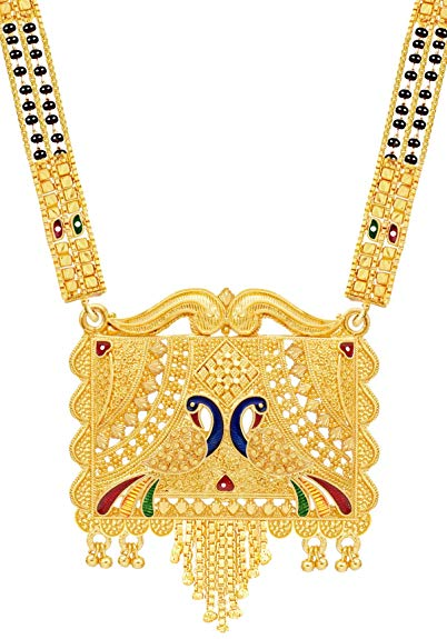 Mansiyaorange Traditional One Gram Hand Meena Long  Mangalsutra/Tanmaniya/Mangalsutra/nallapusalu/Black Beads Mangal Sutra for  Women Gold Long Chain.