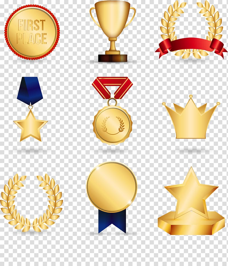 Gold award lot, Gold medal Trophy , Awards transparent.
