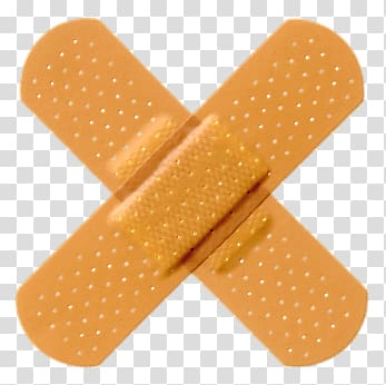 Two brown adhesive bandages, Crossed Band Aids transparent.