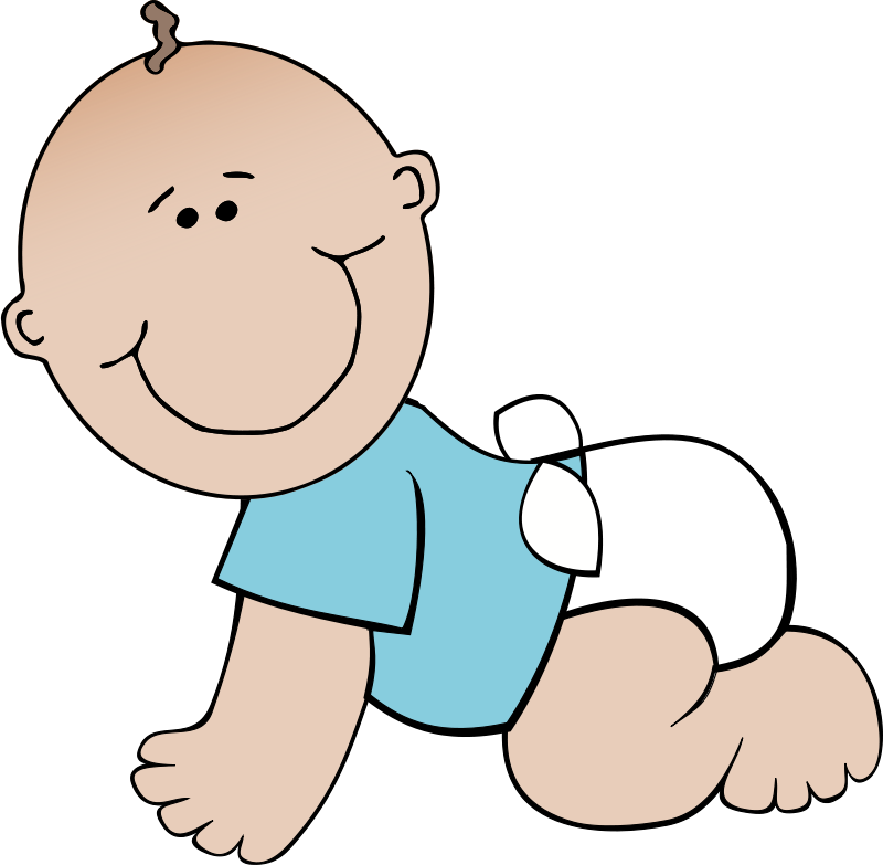 Free Clipart: Baby boy crawling.