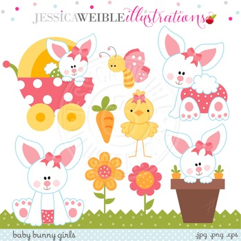 Baby Bunny Girls Cute Digital Clipart, Easter Bunny Clip Art.