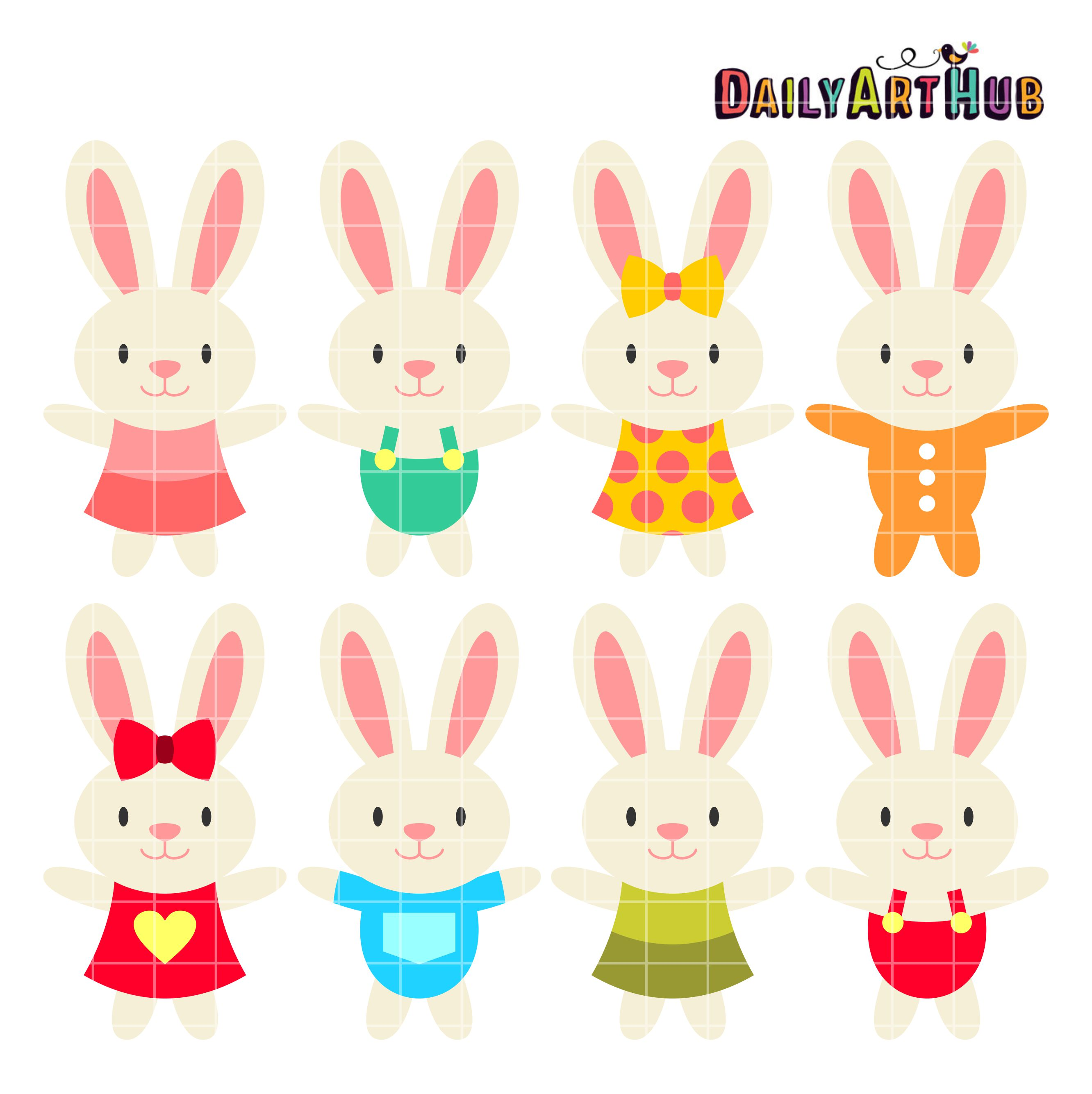 Baby Bunnies Clip Art Set.