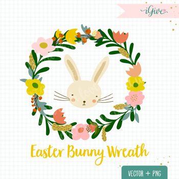 Easter bunny wreath clip art.