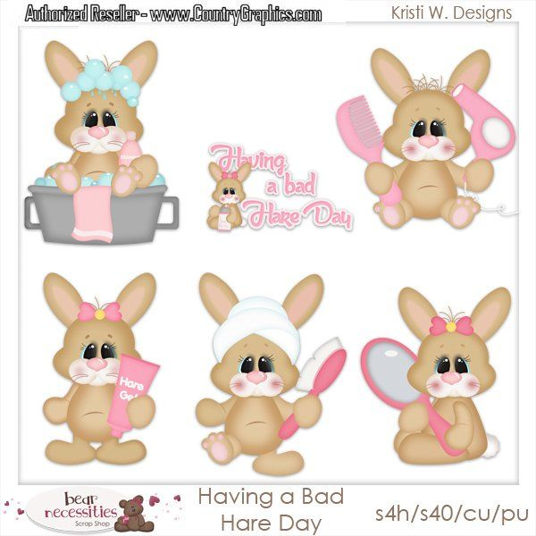 Baby Bunny Having Bad Hare Day Clipart Set.