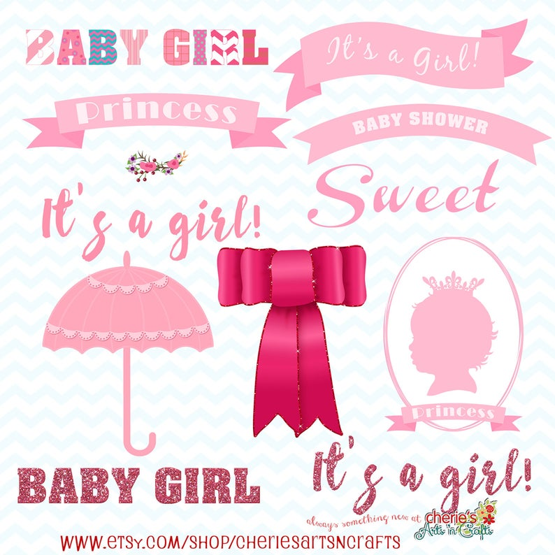 Pink Baby Shower Clip Art Pack, Baby Girl Clipart, Baby Shower Clip Art,  Party Clipart, Digital Download, Digital Designers Graphics Clipart.