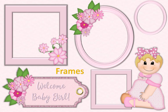 Baby Girl Clipart & Backgrounds Bundle.