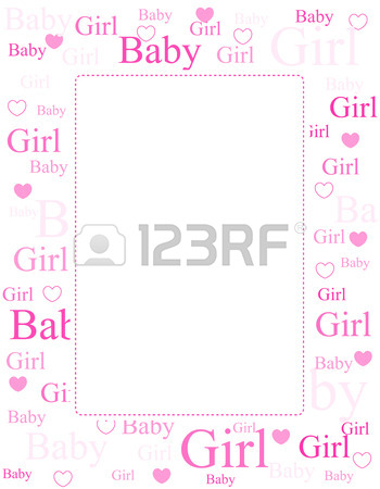 Cute Pink Frame / Border With Baby Girl Text And Hearts Royalty.