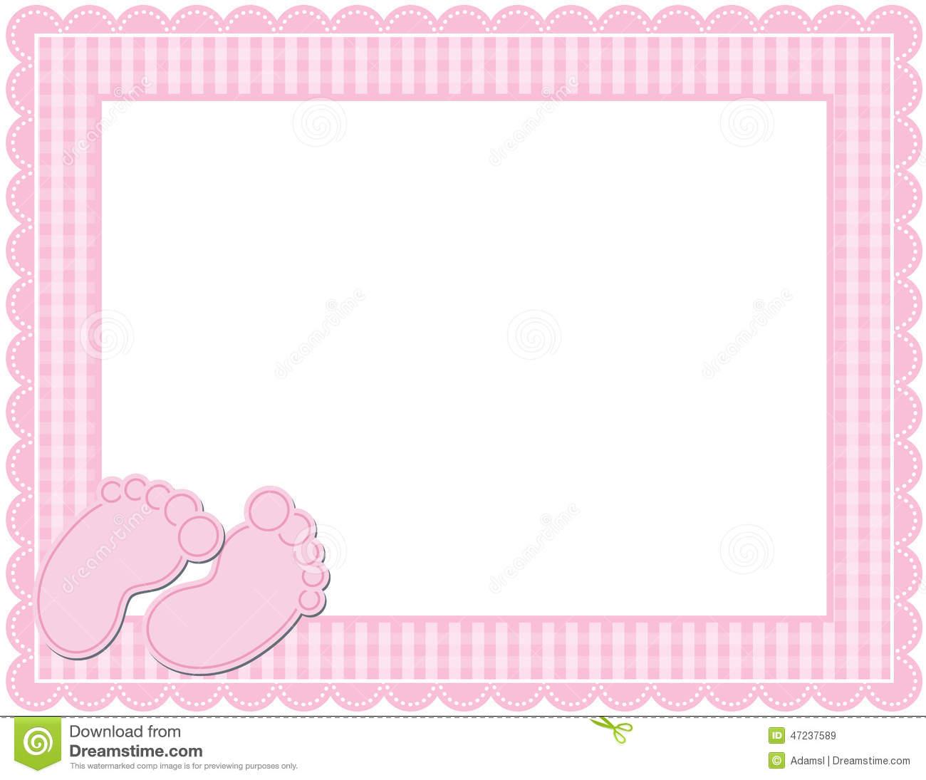 Baby Girl Gingham Frame Stock Vector.