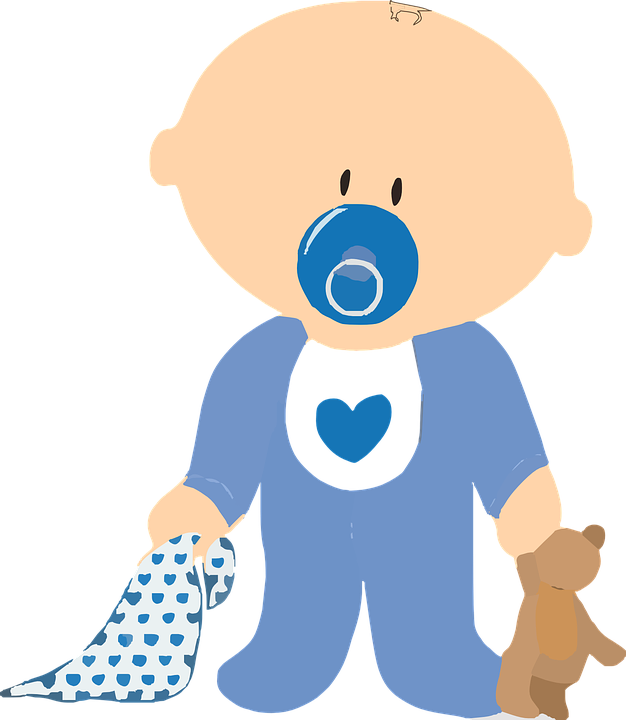 Free vector graphic: Baby, Boy, Teddy, Pacifier, Blanket.