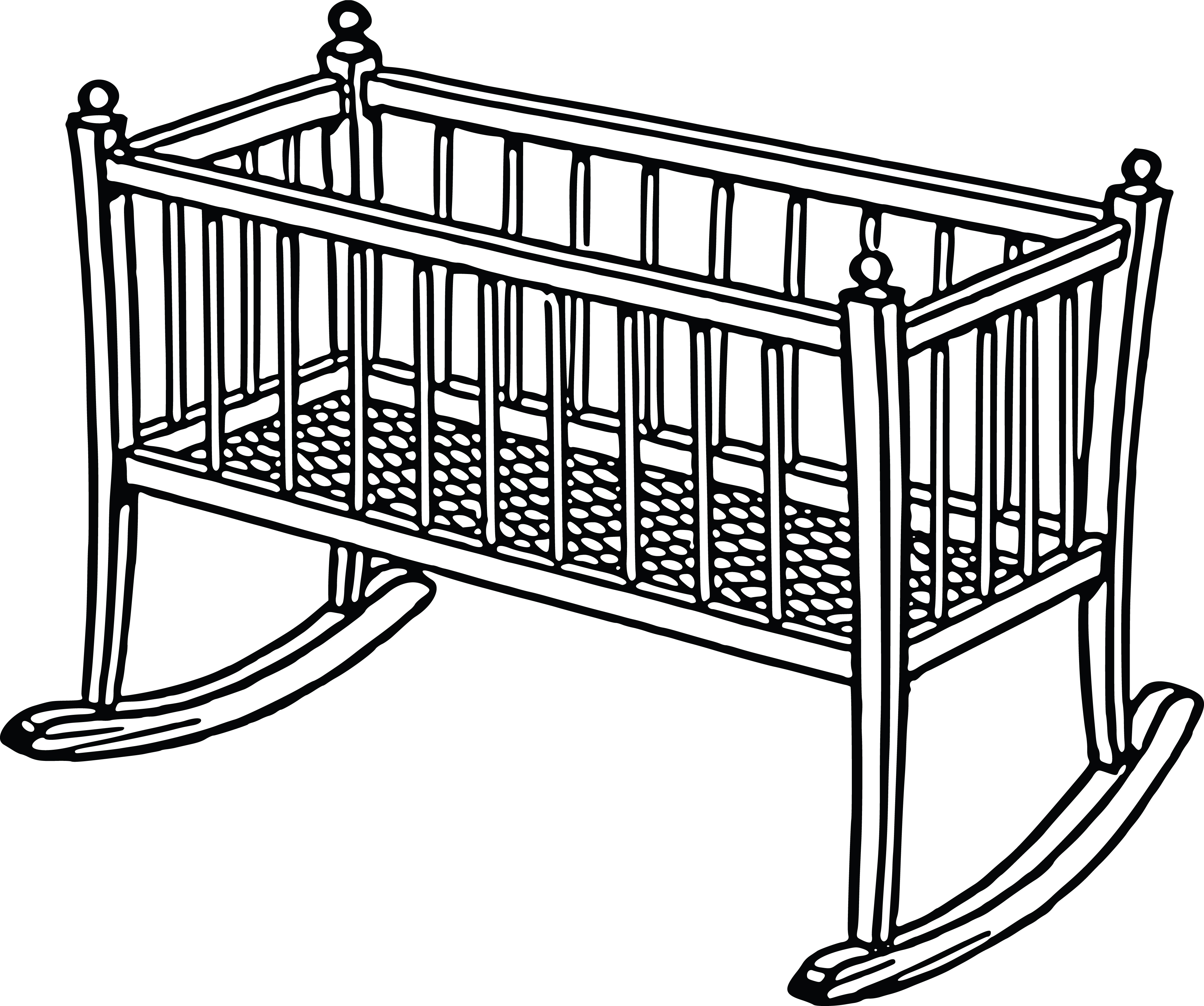 Free Clipart Of A Baby Crib.