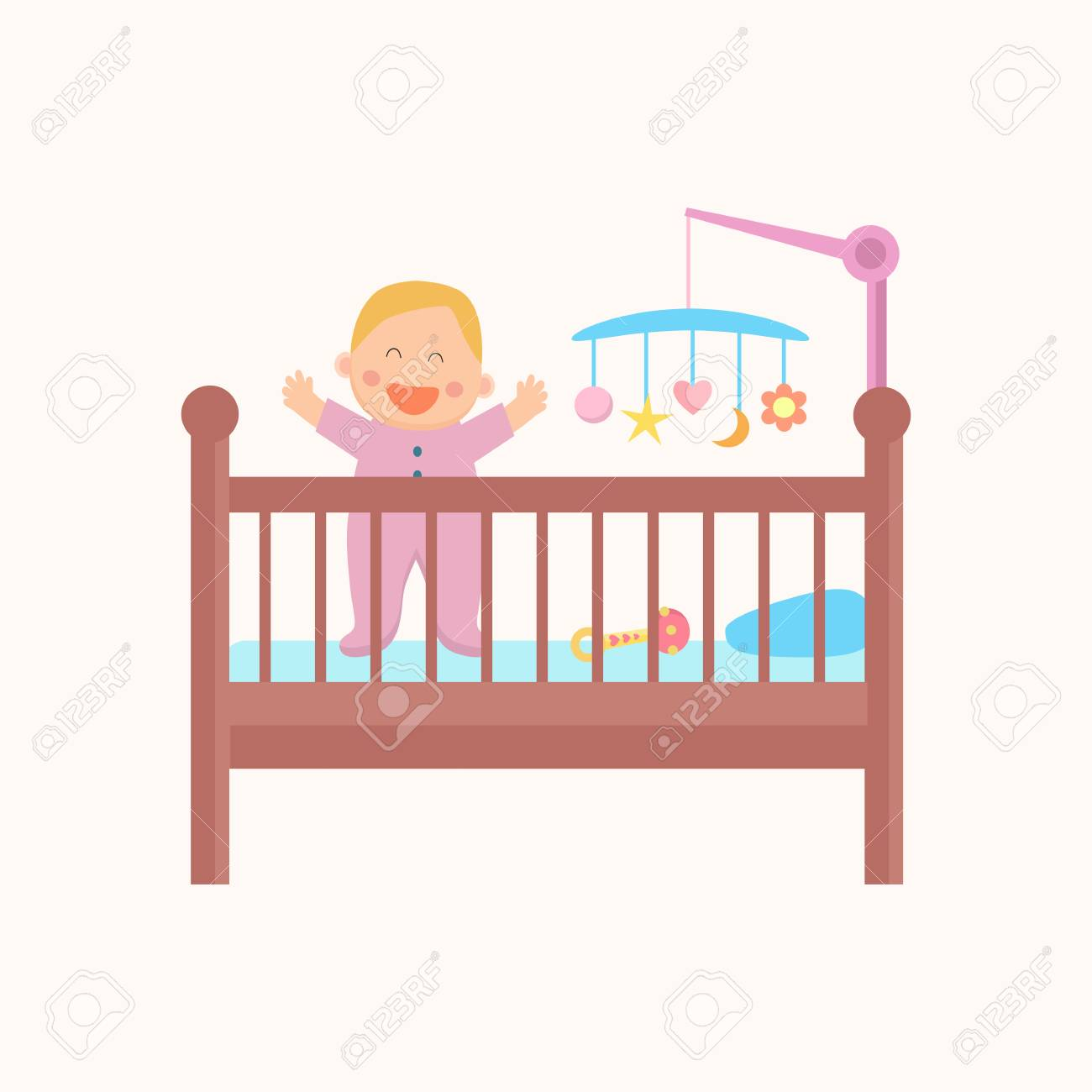 Happy standing baby is in the crib. Flat design..
