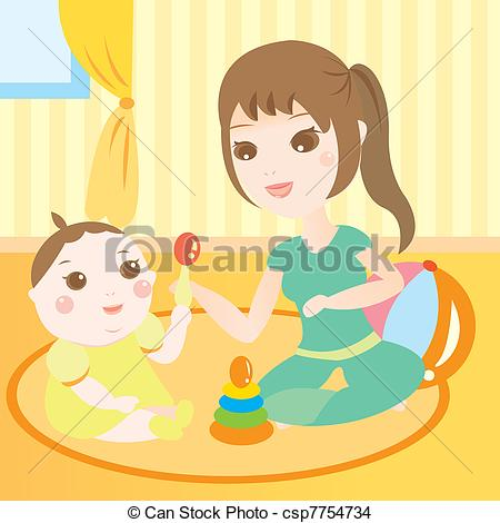 Vector Clipart of cute baby playing toy.