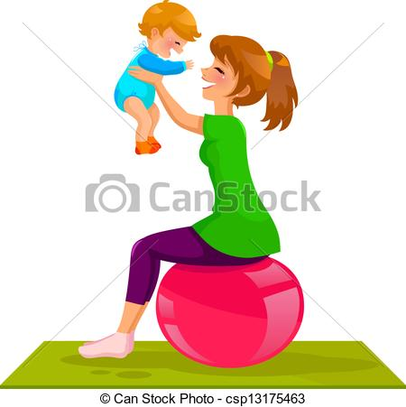 Clip Art Vector of mother and baby.