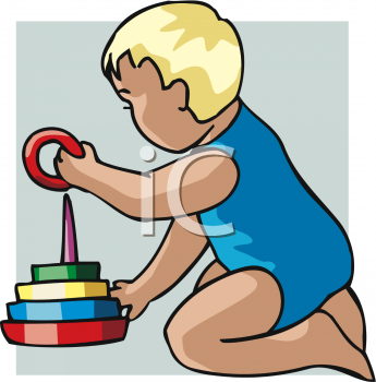 Clipart Picture Of A Baby Boy Playing With A Stacking Ring Toy.