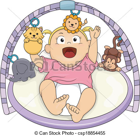 Clipart Vector of Baby Girl Musical Gym.