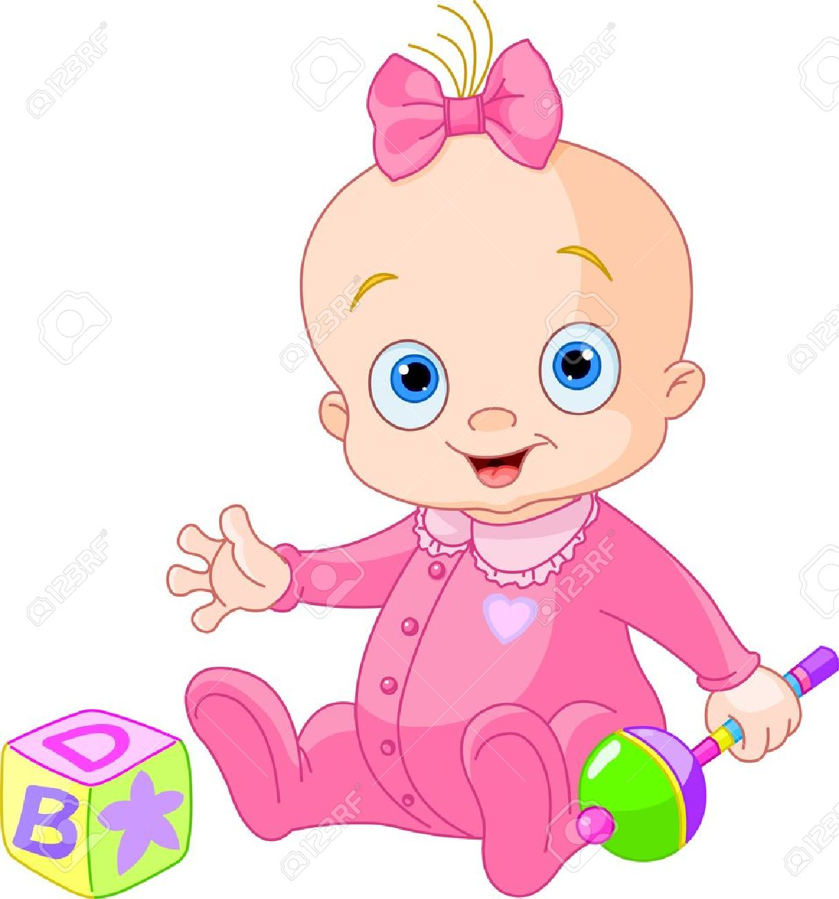Baby Girl Playing With Rattle Royalty Free Cliparts, Vectors, And.