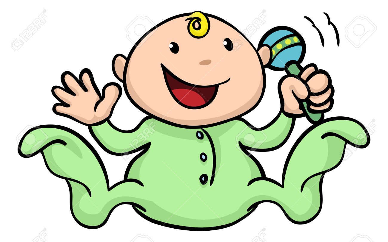 Clipart Illustration Of A Happy Cute Baby Playing With His Or.