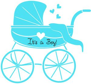 Baby Boy Clipart Image: Baby Shower Graphic of Stroller or.