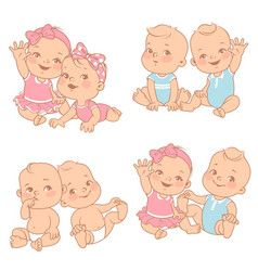 Cartoon baby girl on a hearts background Vector Image.