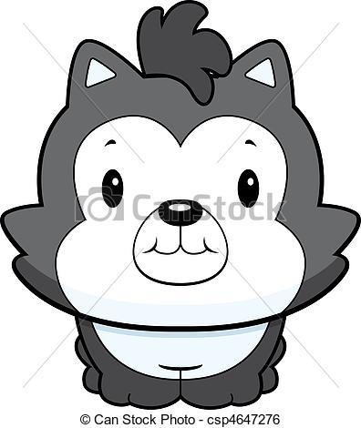 Clip Art Vector of Baby Wolf.
