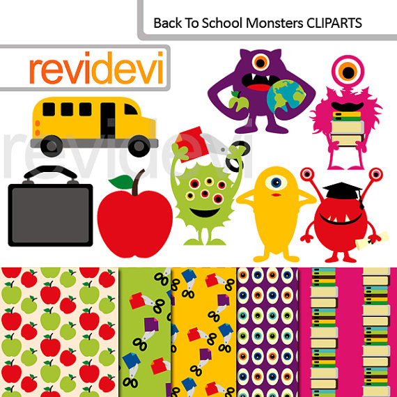 Cliparts Back to school, Monsters at school clip art bundle MGB069.