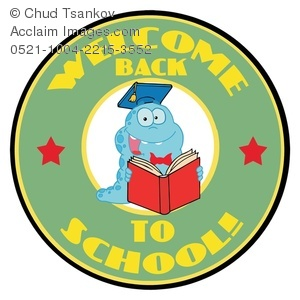 Clipart Image of A Smiling Monster Reading a Book In a Welcome.