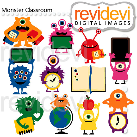Monster clipart / back to school clip art / digital images / Cool.