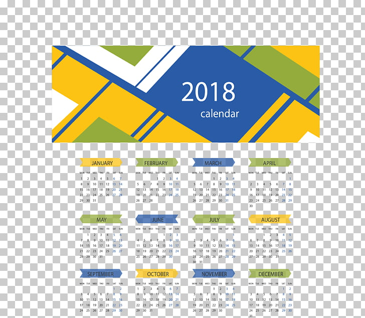 Calendar macOS, Yellow Blue Abstract Background 2018.